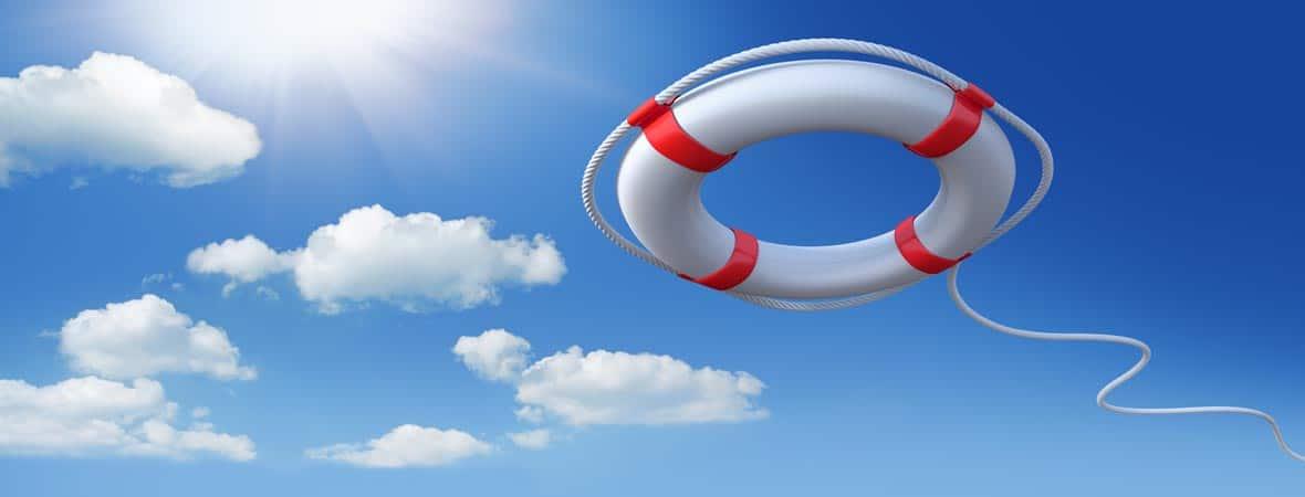Life raft against blue sky
