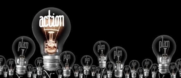 Light bulbs promoting planned action